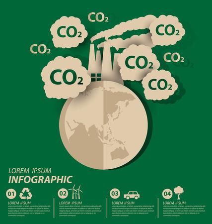 dioxide: Carbon dioxide. Save world vector illustration.