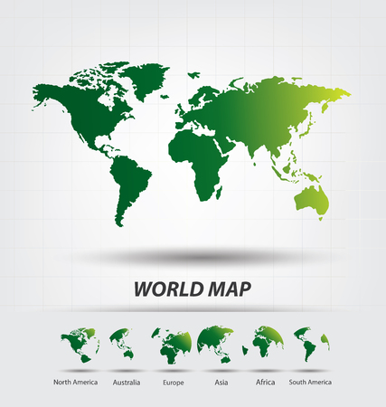 north america: Africa. Antarctica. Asia. Australia. Europe. North america. South america. World Map vector Illustration.