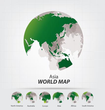 アフリカ。南極大陸。アジア。オーストラリア。ヨーロッパ。北アメリカ。南アメリカ。世界地図のベクター イラストです。