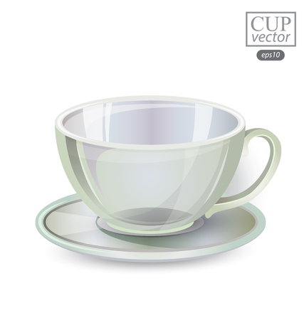 glass cup: glass cup isolated on white background. Vector illustration. Illustration