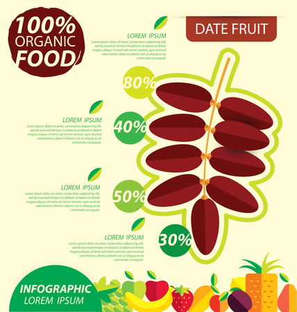 date palm: Date fruit. Infographic template. vector illustration.