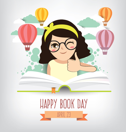 Happy Book Day. Imagination concept vector illustration.