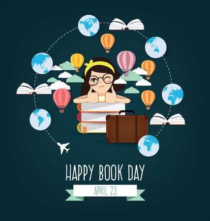 writer: Happy Book Day. Imagination concept vector illustration.