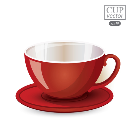 Red cup isolated on white background. Vector illustration. Illustration
