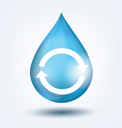 recycling campaign: Blue shiny water drop. Save water concept. Vector illustration.