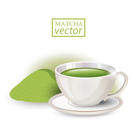 stimulated: Matcha. Cup of tea isolated on white background. Vector illustration.