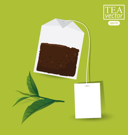 ceylon: Teabag with label. Vector illustration. Illustration