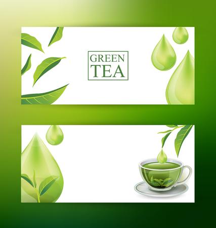 Design Banner Template. Green tea vector illustration.