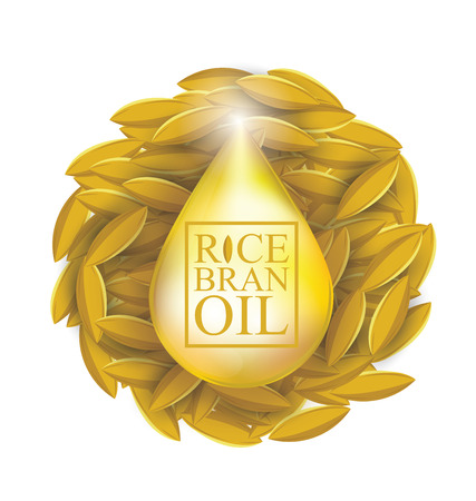 Rice bran oil. Vector illustration.