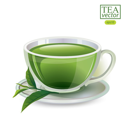 stimulated: Cup of tea isolated on white background. Vector illustration. Illustration