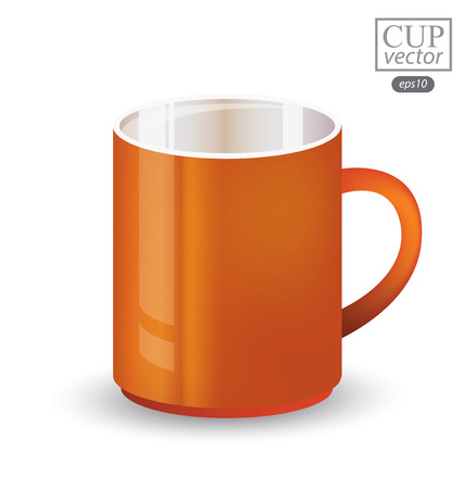 Orange cup isolated on white background. Vector illustration.