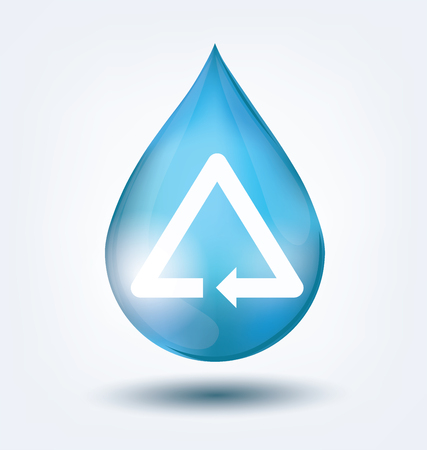 Blue shiny water drop. Save water concept. Vector illustration.