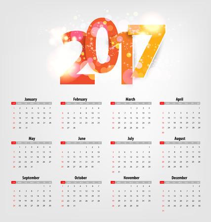 almanac: Calendar for 2017. Vector EPS10. Illustration