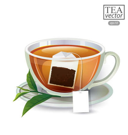 stimulant: Cup of tea isolated on white background. Vector illustration. Illustration