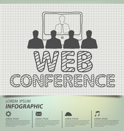 web conference: web conference concept. Business concept vector illustration.