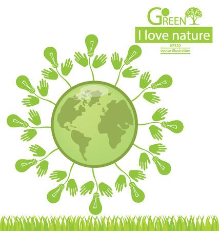 save the world: Go green. Save world. vector illustration.
