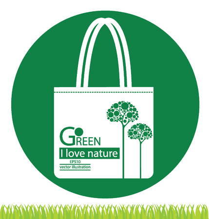 green paper: Bags. Go green concept. vector illustration.