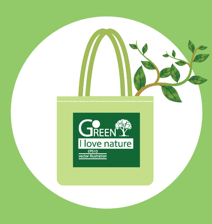 go to store: Bags. Go green concept. vector illustration.