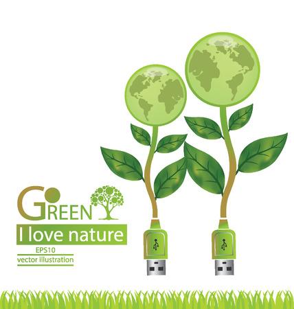 save the world: Tree design. Go green. Save world. vector illustration.
