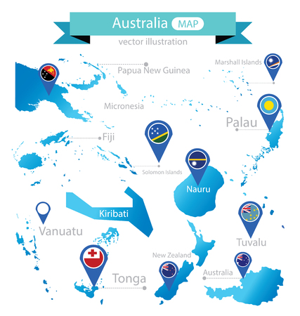 Map of Australia. Country. flag pointer. vector Illustration.