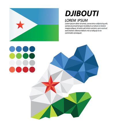 Djibouti geometric concept design Illustration
