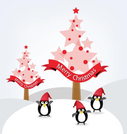 christmas tree illustration: Christmas tree. Penguin. Vector illustration. Illustration