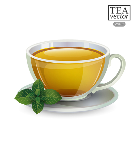Cup of tea with mint isolated on white background. Vector illustration.