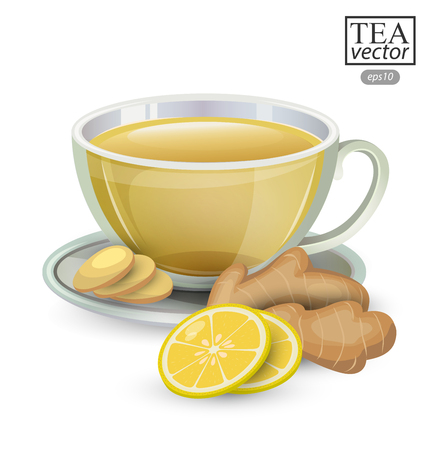 stimulated: Cup of ginger tea with lemon isolated on white background. Vector illustration. Illustration