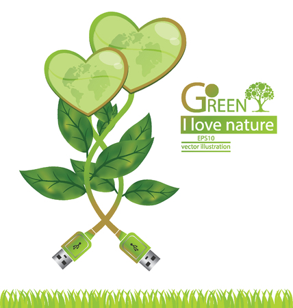 Tree design. Go green. Save world. vector illustration.