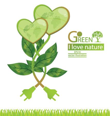 Tree design. Go green. Save world. vector illustration.