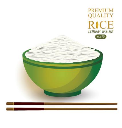 Rice Bowl and chopstick. Vector illustration. Illustration