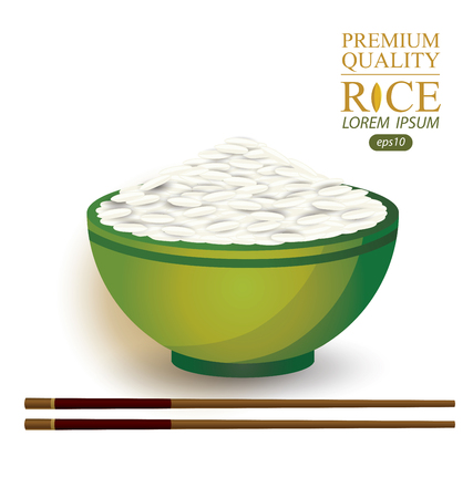 bowl of cereal: Rice Bowl and chopstick. Vector illustration. Illustration