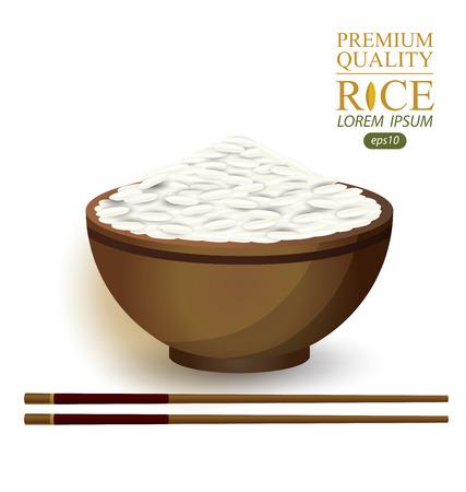jasmine rice: Rice Bowl and chopstick. Vector illustration. Illustration