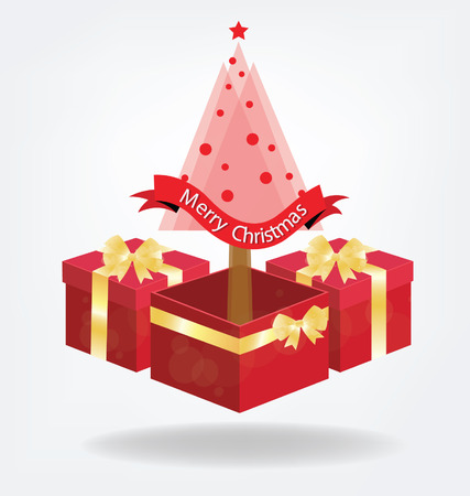 red gift box: Christmas tree. Red gift box. vector Illustration. Illustration