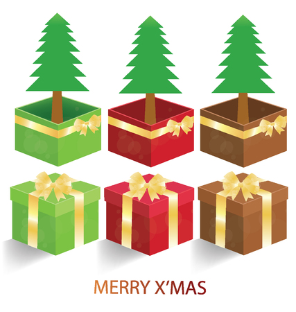 elysium: Merry christmas. Gift box. Christmas tree vector illustration.