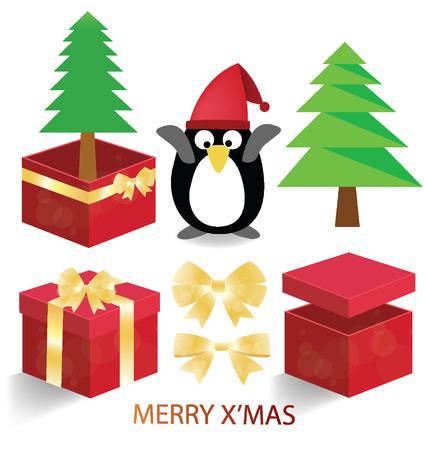 red gift box: Merry christmas. Red gift box. Santa vector illustration. Illustration