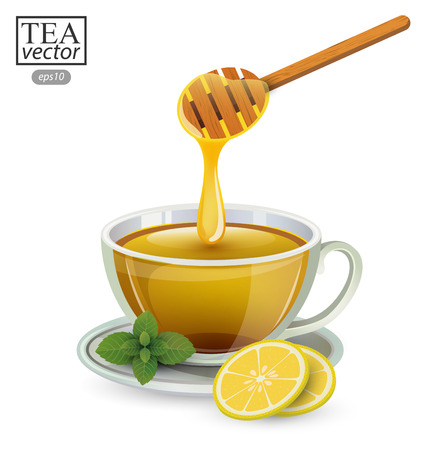stimulant: lemon tea with honey in a glass isolated on white background. Vector illustration.