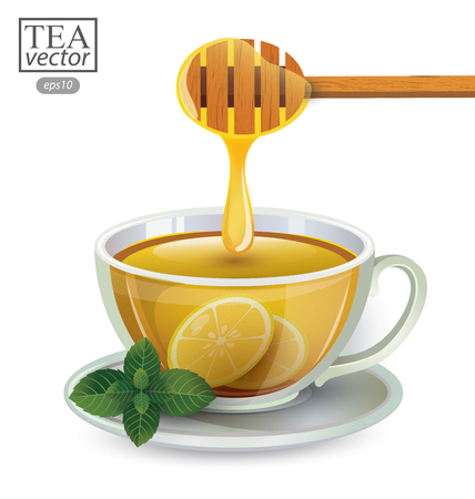 lemon tea with honey in a glass isolated on white background. Vector illustration.