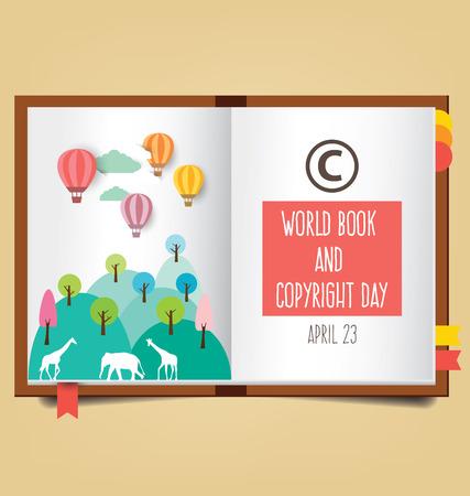 portadas libros: World Book and Copyright Day vector illustration.
