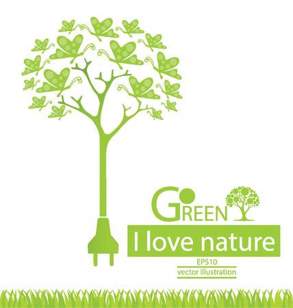 love tree: Plug. Butterfly. Tree design. Go green. Save world. vector illustration. Illustration
