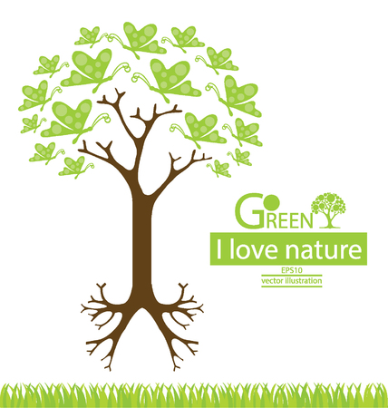 wildlife conservation: Butterfly. Tree design. Go green. Save world. vector illustration.