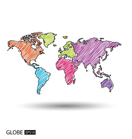 Africa. Asia. Australia. Europe. North america. South america. World Map vector Illustration. Illustration