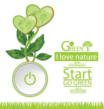 save the world: Start button. Heart. Go green. Save world. vector illustration. Illustration
