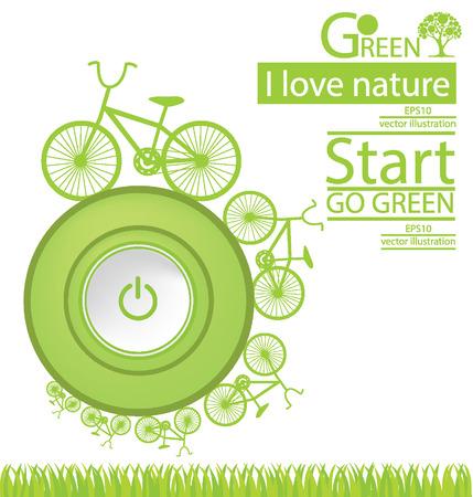 save the world: Start button. Bike. Go green. Save world. vector illustration. Illustration