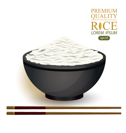 cooked rice: Rice Bowl and chopstick. Vector illustration. Illustration