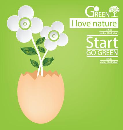 Start button. Flower design. Go green. Save world. vector illustration.