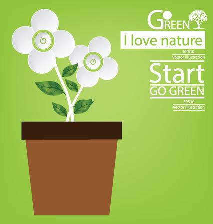 save the world: Start button. Flower design. Go green. Save world. vector illustration.