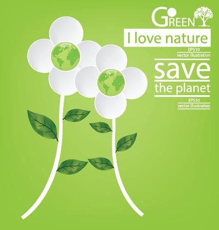 save the world: Flower design. Go green. Save world. vector illustration.
