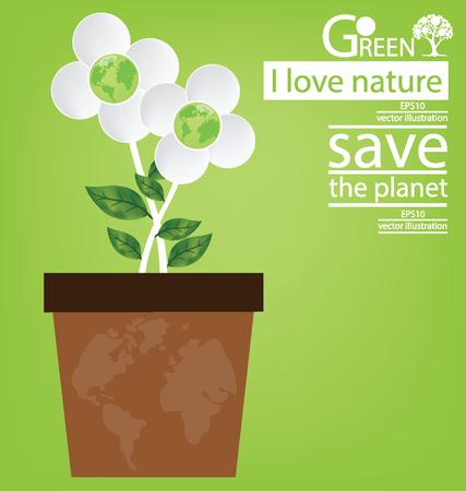 Jardiniere. Flower design. Go green. Save world. vector illustration. Illustration