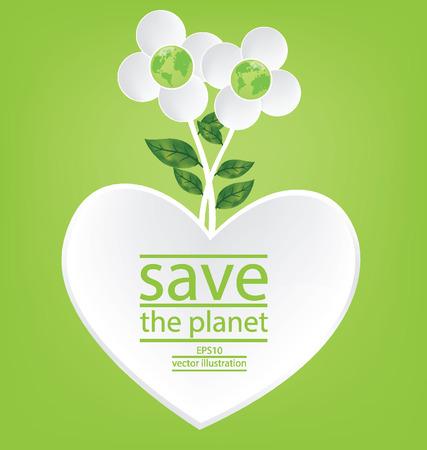 Flower design. Heart. Go green. Save world. vector illustration.